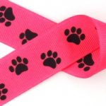 1 in Black paws on Hot pink grosgrain ribbon
