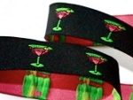 Pink-green martini glasses on black jacquard ribbon