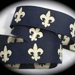 Champagne fleur de lis on navy jacquard ribbon