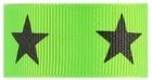1 in Black star on neon green grosgrain ribbon