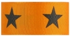 1 in Black star on Tangerine grosgrain ribbon