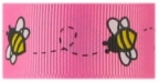1 in Bees on Bright pink grosgrain ribbon
