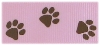 1 in Brown paws on Light pink grosgrain ribbon