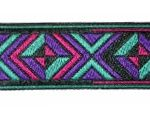 Purple-Teal-Pink Aztec 7/16 in jacquard ribbon