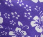 Purple fleece with white hibiscus flowers