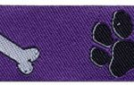 1 in Black paw-white bone on purple jacquard ribbon