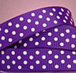 White polka dots on purple grosgrain ribbon
