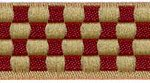 Red-Cream Checkerboard jacquard ribbon