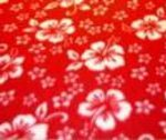 Red fleece with white hibiscus