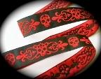 Red-Black Skull Fleur de Lis jacquard ribbon