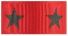 Black star on red grosgrain ribbon