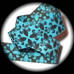 1 in Turquoise-Brown Fleur de Lis-Reversible jacquard ribbon