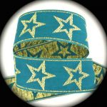 Turquoise Gold Star-Metallic jacquard ribbon