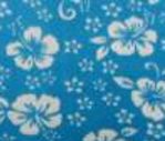 Turquoise fleece with white hibiscus flowers