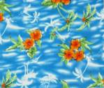 Orange hibiscus flowers on turquoise-white fleece