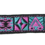 5/8 in Turquoise-pink geo jacquard ribbon