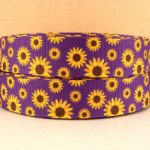 Yellow Daisies on Purple grosgrain ribbon