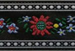 Yellow-red eidelweiss on black jacquard ribbon