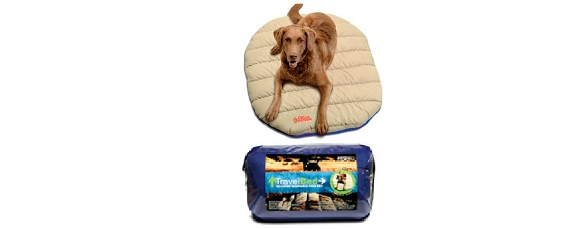 Dog Beds in several colors and sizes. This is our Chuckit Travel Bed.