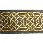 Gold Hex Celtic metallic on black jacquard ribbon
