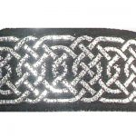 Silver Hex Celtic metallic on black jacquard ribbon