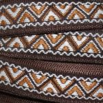 Light brown and white zig zag on dark brown jacquard ribbon