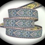 Classic Rose light blue and gold metallic jacquard ribbon