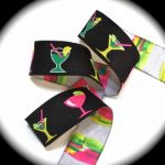 Colorful Cocktails on black jacquard ribbon