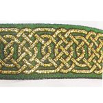 Gold Hex Celtic metallic on green jacquard