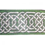 Silver Hex Celtic metallic on green jacquard