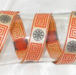 Greek Key Orange Ribbon